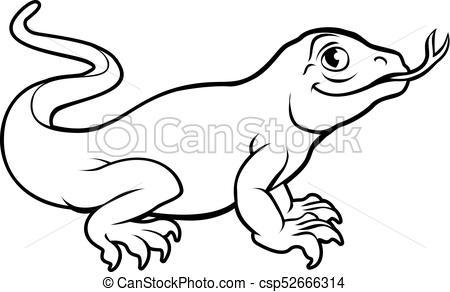 Komodo Dragon Lizard Cartoon Character.