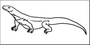 Clip Art: Komodo Dragon B&W I abcteach.com.