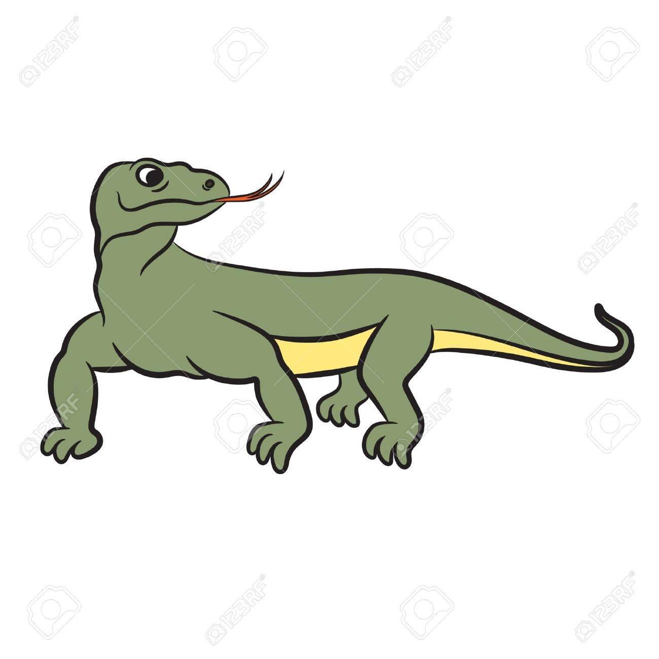 Illustration of varan (komodo dragon). Vector.