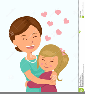 Mom And Daughter Hugging Clipart.