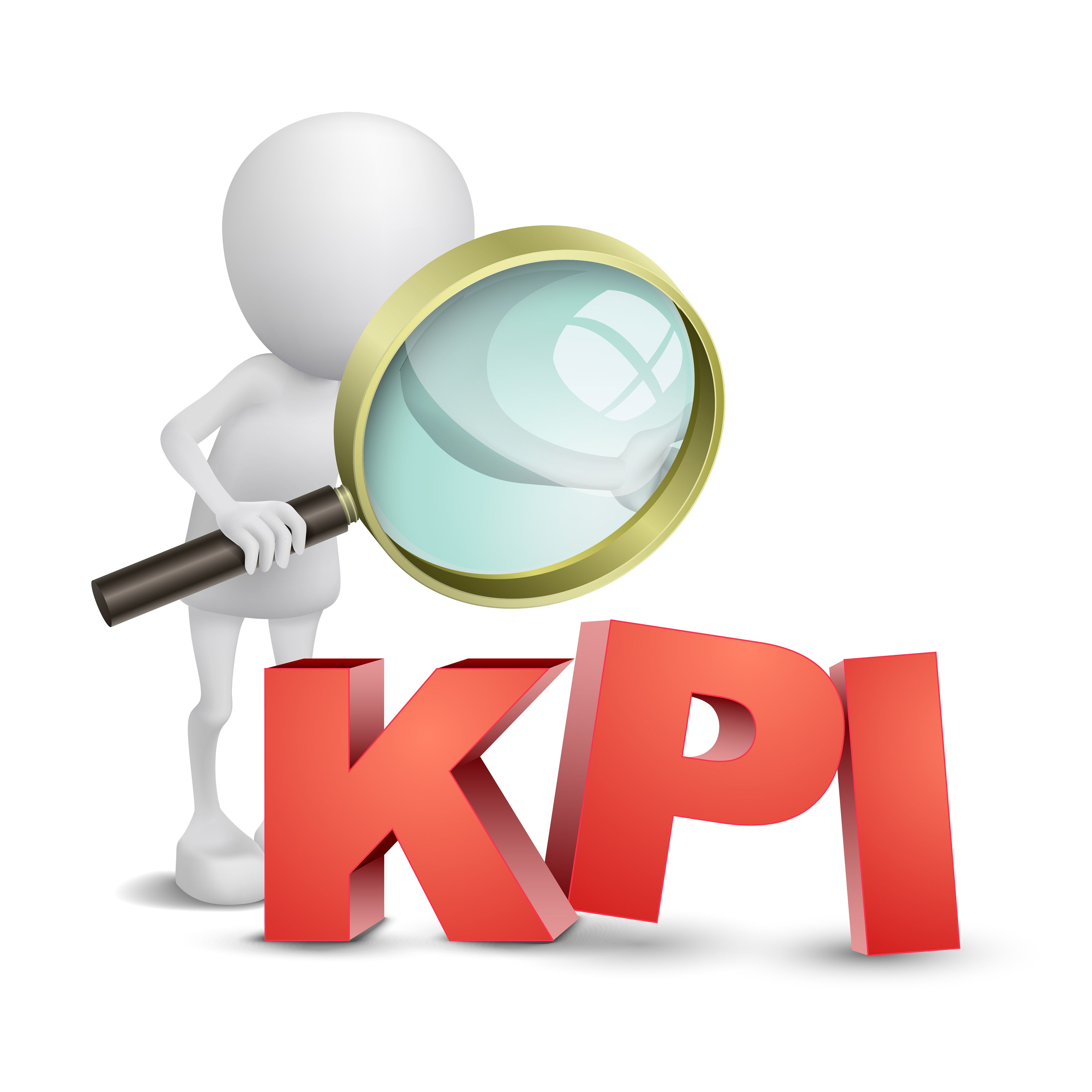 3d person with a magnifying glass and KPI.