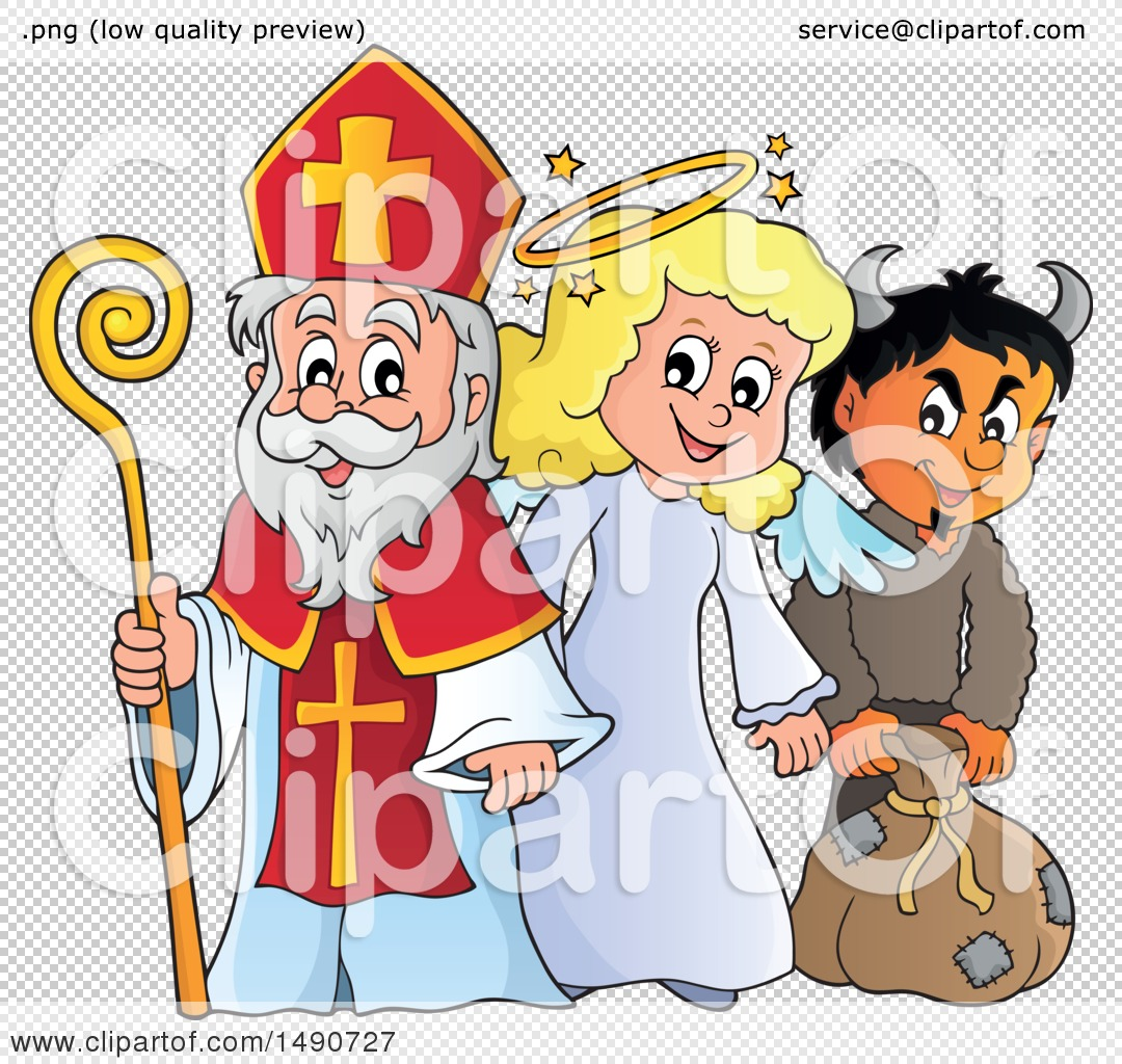 Clipart of Sinterklaas with an Angel and Krampus.
