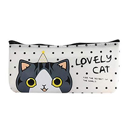 Amazon.com : Adorable Dot&Cat Style PU Pen Bag Waterproof.