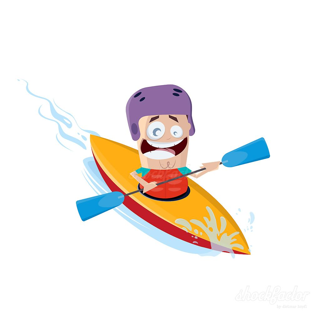 Kayak Ride #kayak #cartoon #comic #vector #clipart #boat.