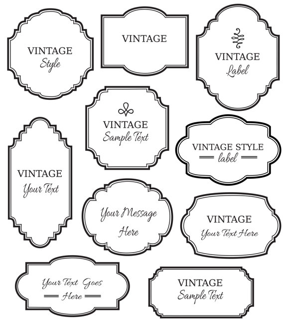 Vintage Labels Clip Art // Digital Frame // Vector EPS Editable.