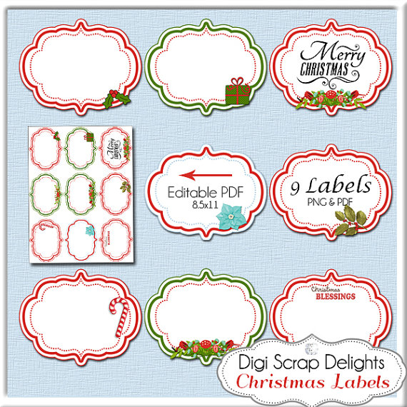 Christmas Clip Art Labels, Editable PDF & Pngs, Add Your Text, Red.