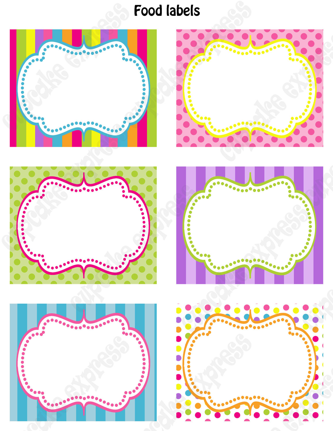 Candy Shoppe Birthday Party PRINTABLE Food Labels pink green blue.