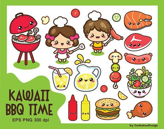 Kawaii clip art, BBQ clipart, labor day clipart, kid clipart.