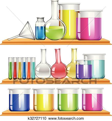 Lab equipment filled with chemical Clipart.