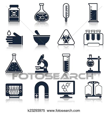 Laboratory equipment icons black Clipart.