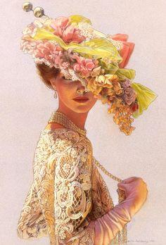 Fashion Portrait Painting romantic Victorian lady lace dress hat.
