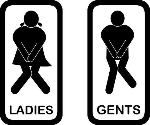 Ladies And Gents Bathroom Signs.
