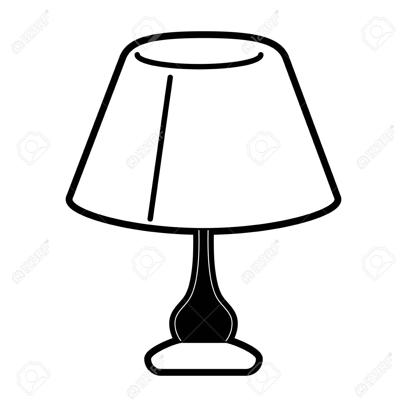lamp night table icon image vector illustration design black...
