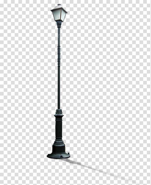 Black lamp post illustration, Street light Light fixture, An.