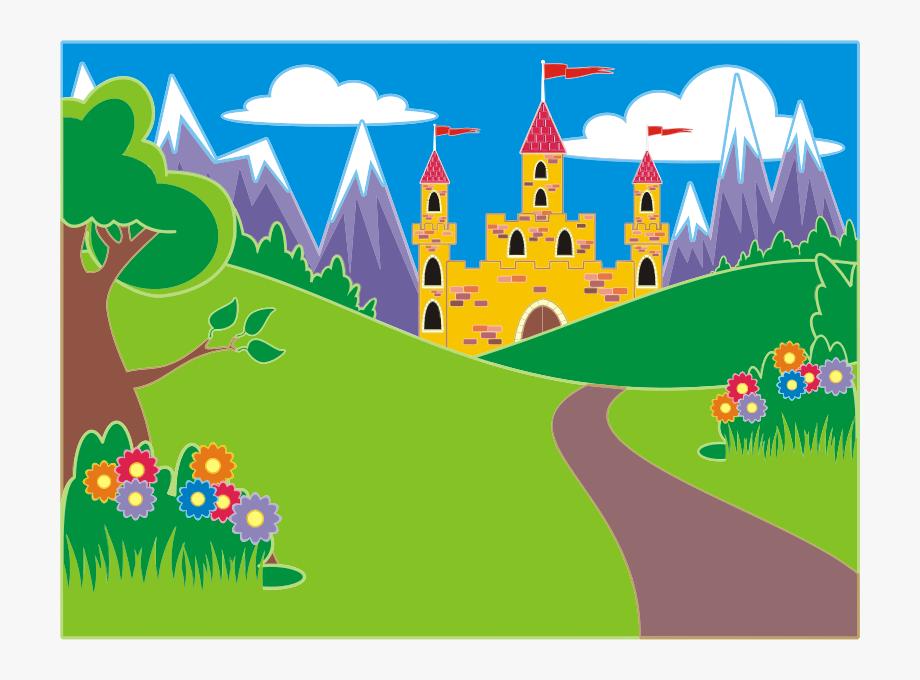 Fairytale Unicorn Landscape Clipart Icon Png.