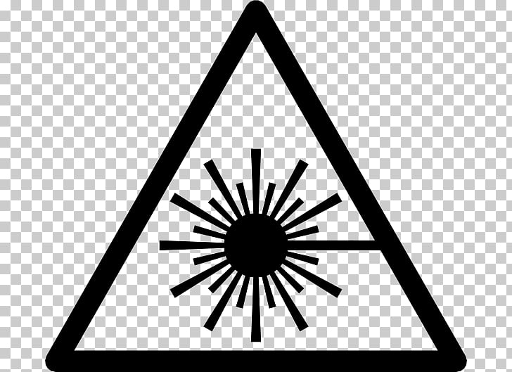 Laser safety Symbol, laser beam, silhouette of sun.