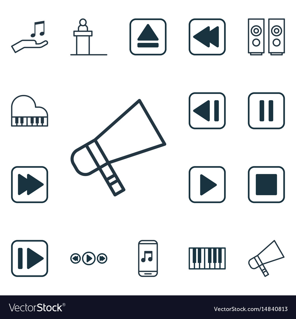 Set of 16 multimedia icons includes last song.