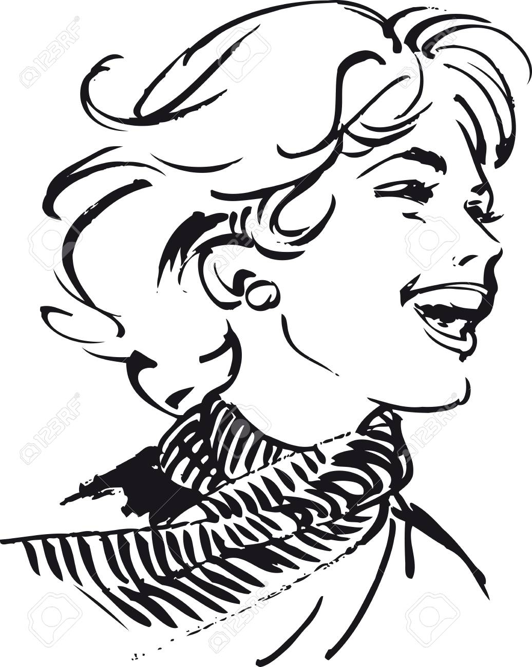 Laughing woman, Retro Vector Illustration.