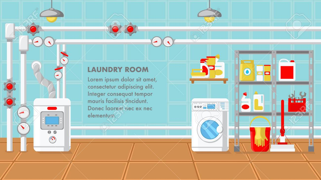 Laundry Room Flat Design Vector Illustration. Utility Room Color...