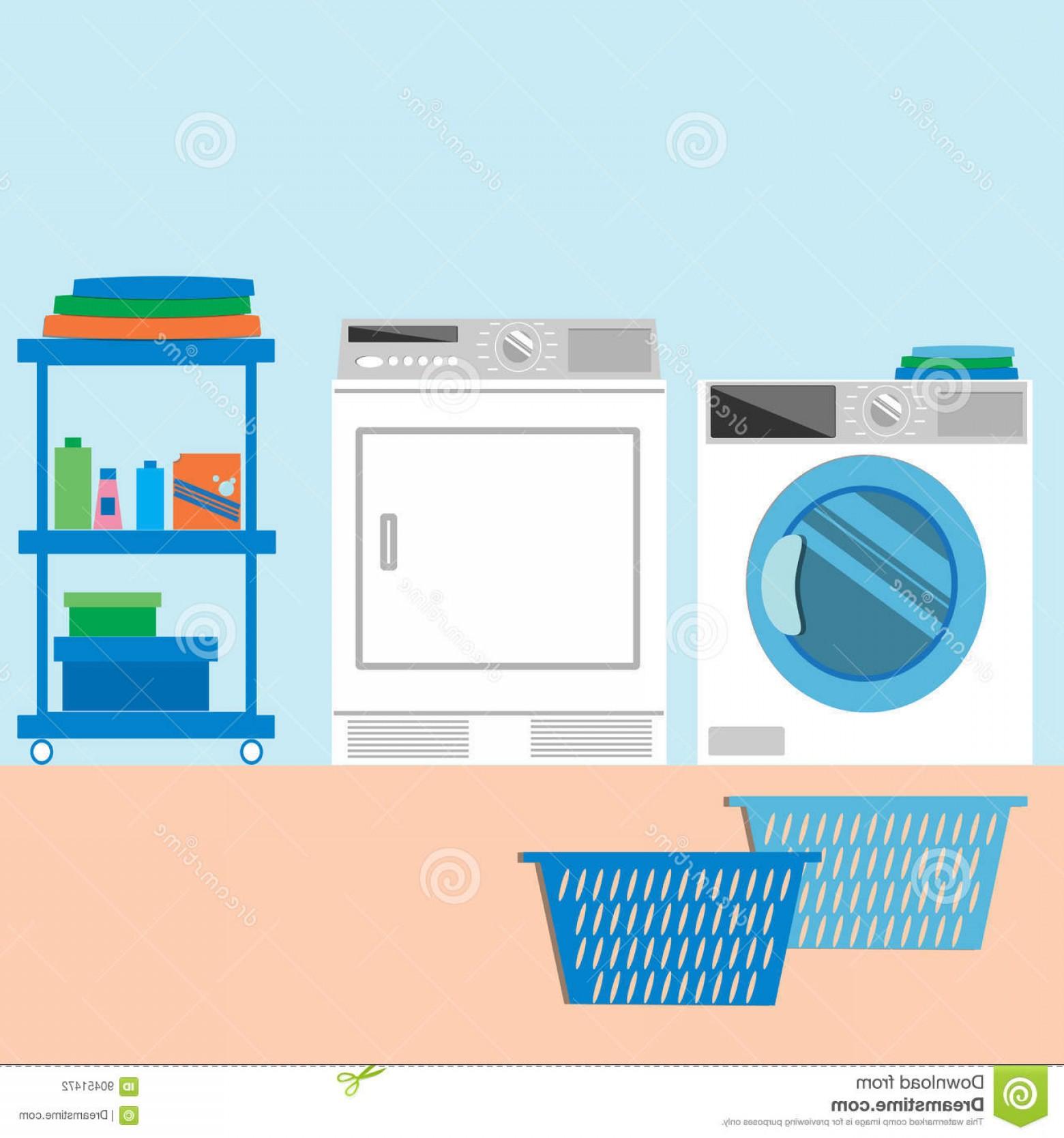 Stock Illustration Laundry Room Flat Style Vector Illustration.