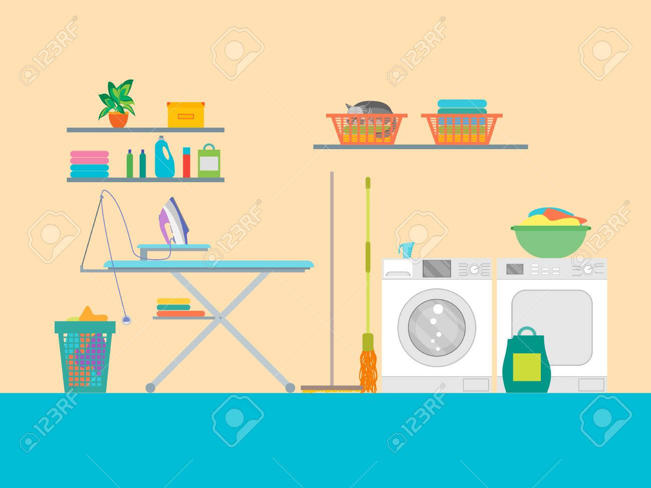 Interior Laundry Room with Furniture. Vector.