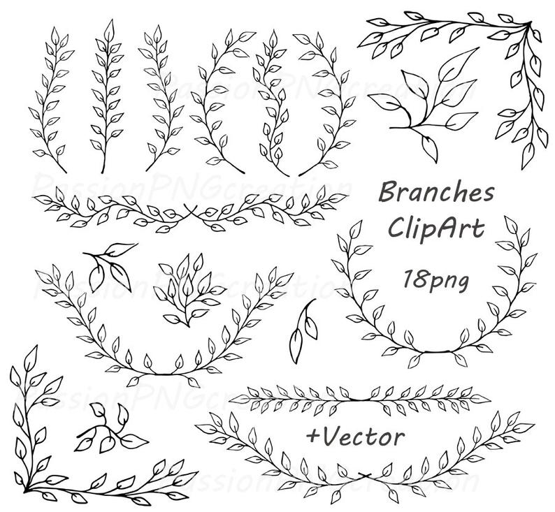 Digital Branches ClipArt, Laurel Wreath, Digital Wreath, Laurel Clipart,  Black Wreath Laurel, Wreaths Frames, Personal and Commercial Use.