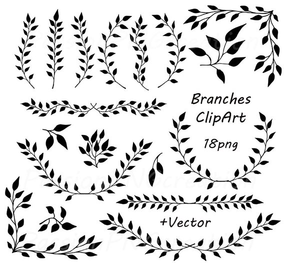 Digital Branches ClipArt, Laurel Wreath, Digital Wreath, Laurel.