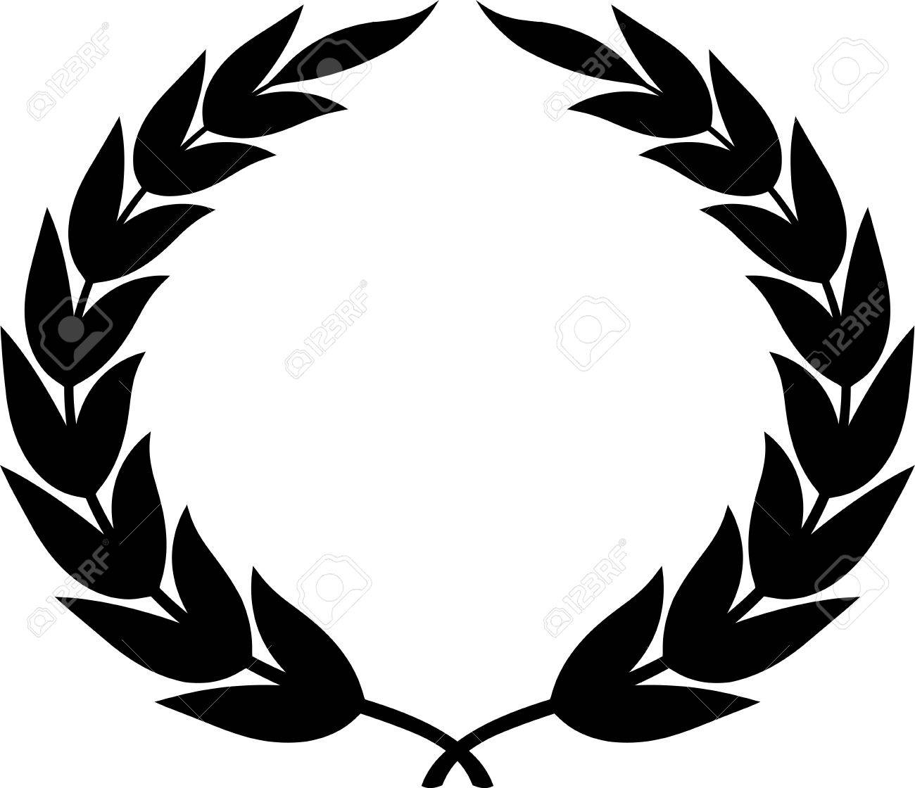 Laurel wreath clipart drawing isolated.