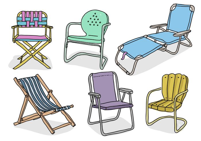 Lawn Chair Hand Drawn Doodle Vector Illustration Collection.