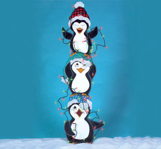 Christmas Tangled Trio of Penguins with Lights Wood Yard Art/Lawn.