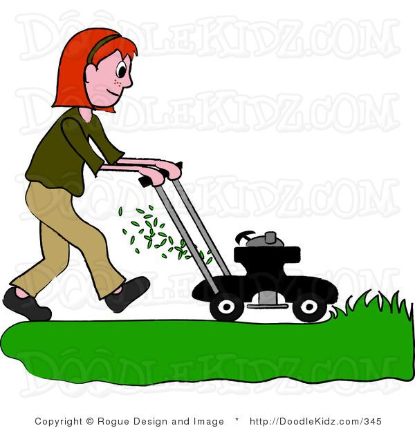 Clipart Illustration of a Big Bear Driving A Red Riding Lawn Mower.