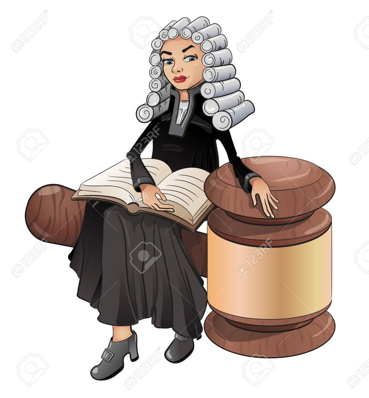 A judge is a female lawyer in a wig with a book and a hammer,...