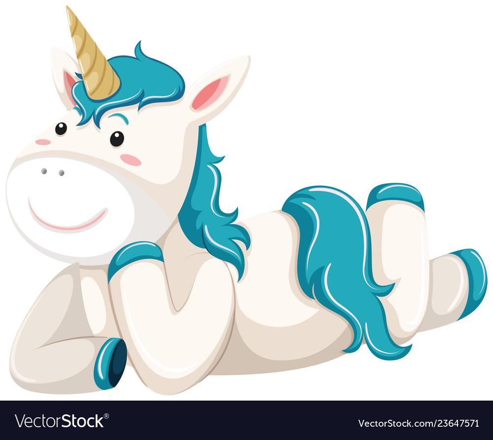 A unicorn character lay down.