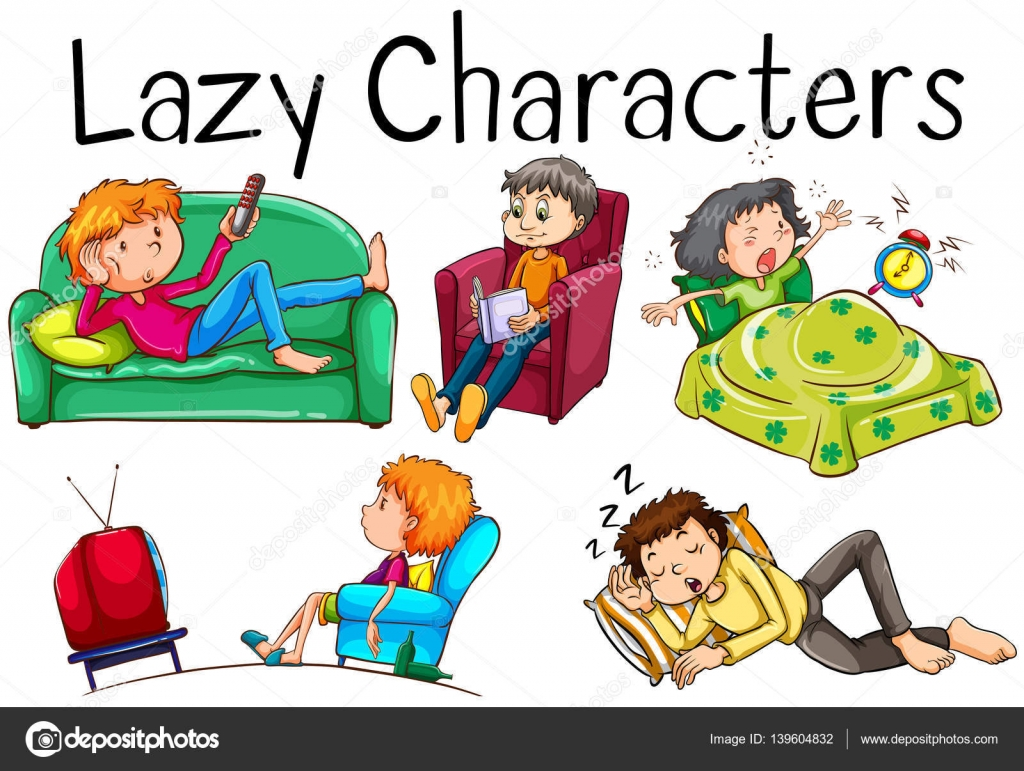 Clipart: lazy person.
