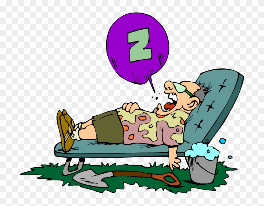 Cartoon Of A Lazy Man Snoring In A Lawn Chair.