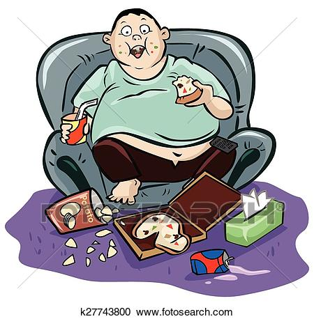 Lazy fat man Clipart.