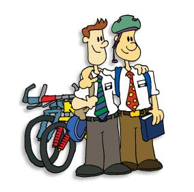 Mormon Share } Missionaries with bikes.