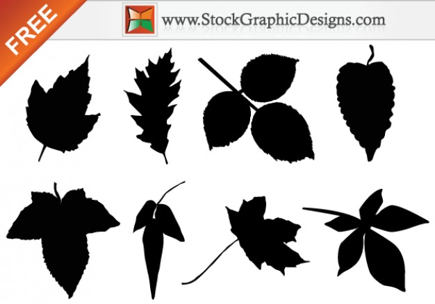 Leaf Silhouettes Free Clip Art Images Vector.