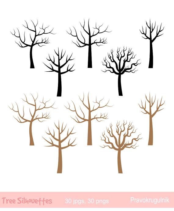 Fingerprint tree clip art Bare tree silhouette clipart.
