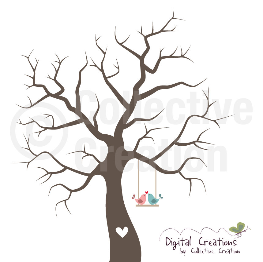 Wedding Fingerprint Tree Silhouette Digital by CollectiveCreation.