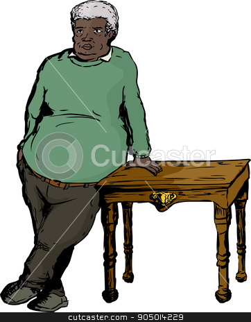 Mature Man in Green Leaning on Table stock vector.