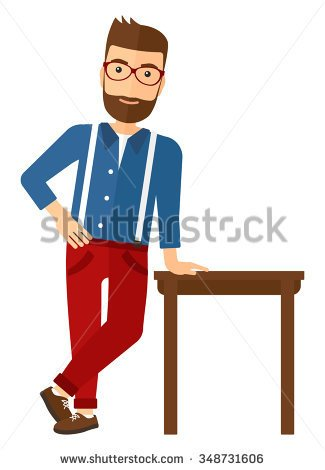 Clipart Leaning On Table.