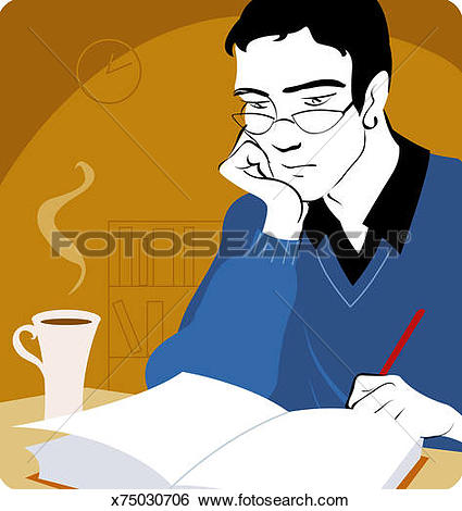 Stock Illustration of Man Reading Book, Leaning on Table x75030706.