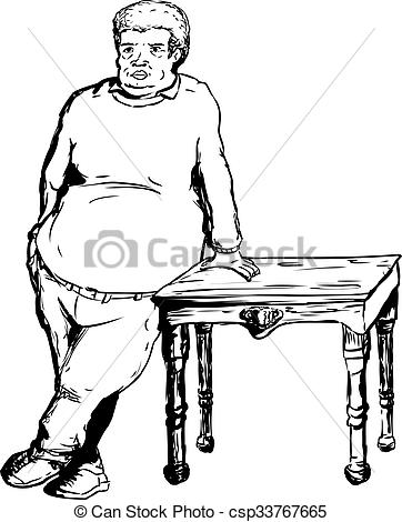 Stock Illustration of Heavy Man Leaning on Table.