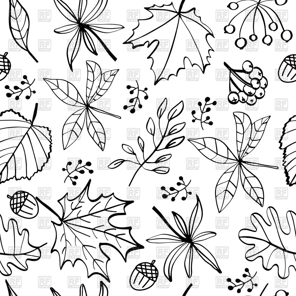Autumn leaves seamless pattern, black and white Stock Vector Image.