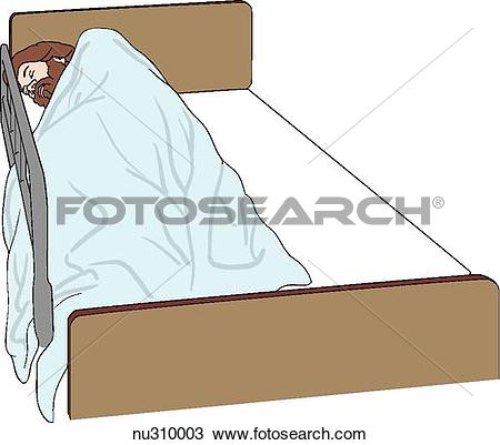 Drawing of Patient wrapped in blanket in side.