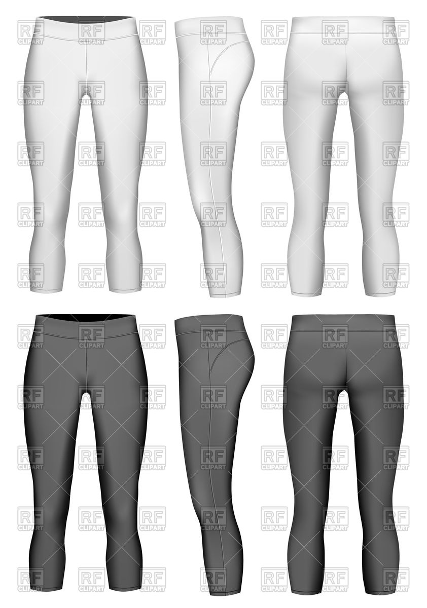 Women's compression leggings black and white Stock Vector Image.