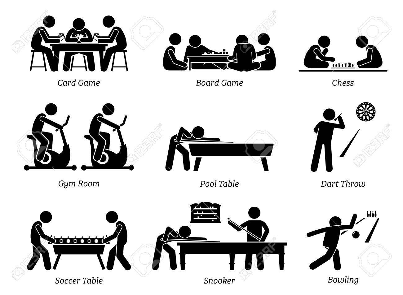 Indoor Club Games and Recreational Activities. Stick figures...