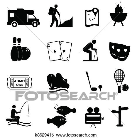 Leisure and fun icons Clipart.