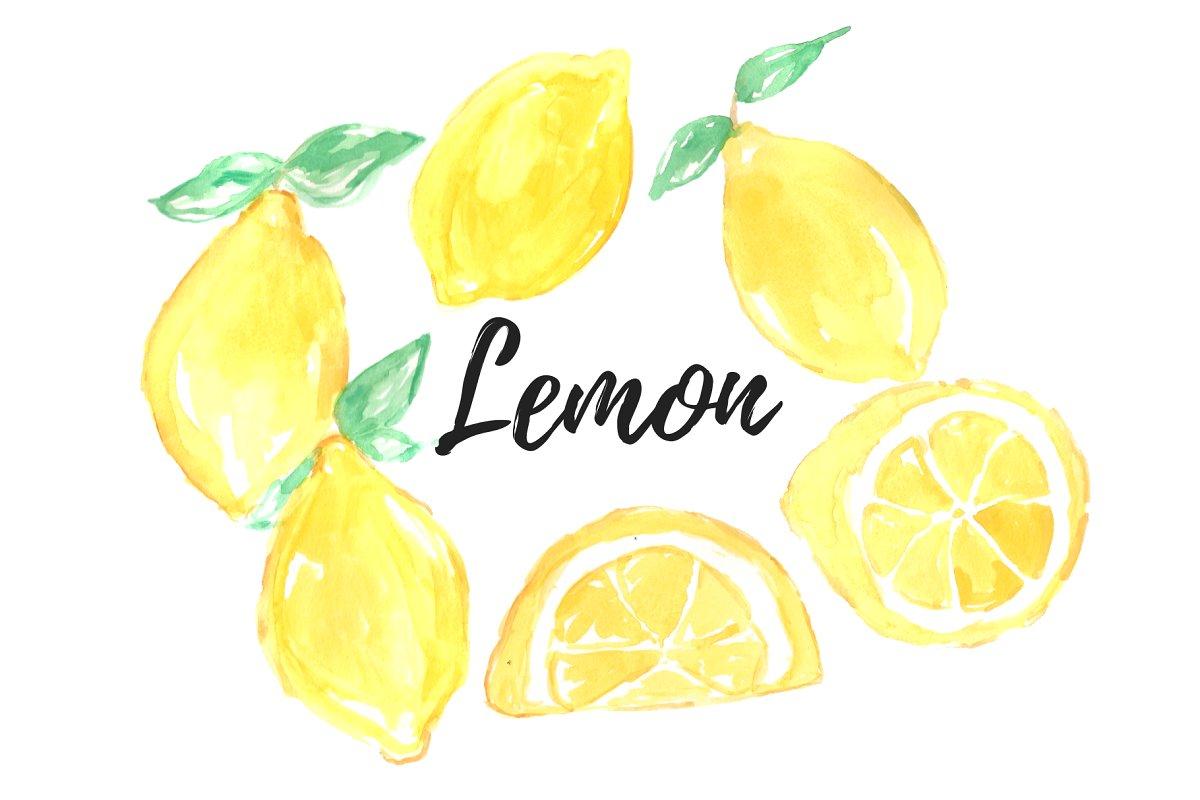 Watercolor Lemon Clipart.